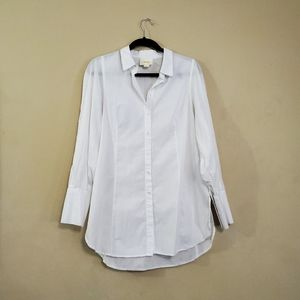 Maeve Anthropologie White Button Down Blouse Top